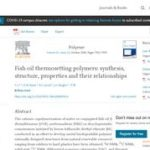 Fish Oil Thermosetting Polymers: Synthesis, Structure, Properties, and Their Relationships